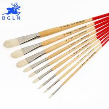 <b>BGLN</b> Pound Oil Paint Brush Mix Size Solid Wooden Pole For ...