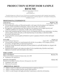 Manufacturing Supervisor Resume Fascinating Production Supervisor Resume Sample Supervisor Food Production