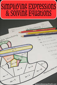simplifying expressions solving equations holiday coloring activity