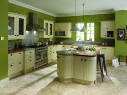 Kitchen Idea Cheery Green Kitchen Idea With Green Wall Also White Window Blinds