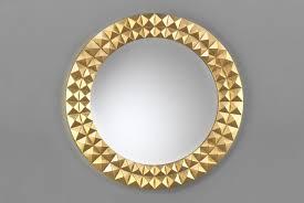 modern round mirror gold wood frame luxury decor