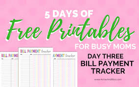 Day 3 Free Bill Tracker Printable