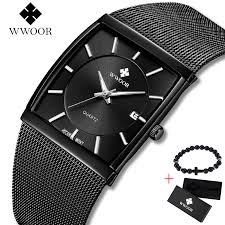 2019 Top Brand <b>WWOOR</b> Luxury <b>Mens</b> Square Quartz Watches ...