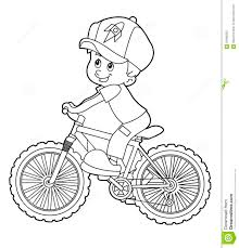 Drawn biker riding bicycle pencil and in color