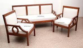 sleek wooden sofa set with fixed