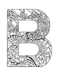 Letter B Zentangle Coloring Page Free Printable Coloring Pages