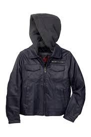 Yoki Faux Leather Jacket With Fleece Hood Big Boys Nordstrom Rack