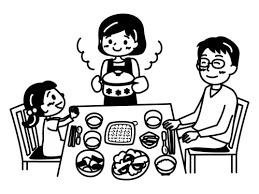 家族で食事をしている白黒イラスト かわいい無料の白黒イラスト モノぽっと