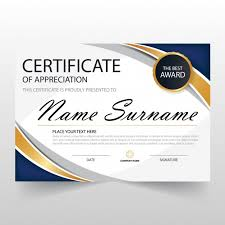 Certificate Of Appreciation Templates Free Download Wavy Certificate Of Appreciation Template Vector Free Download