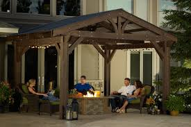 Covered Pergola Kits Lodge Ii Pergola Kit Ogr Sample Peoples Placement  Enjoy With Fireplace And Night Time Talking And Meeting