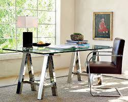 Mason Glass Top Desk Polished Nickel