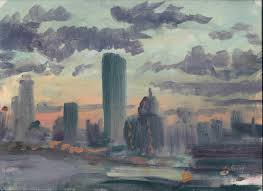 michelle mendez artwork boston skyline original painting oil cityscape art