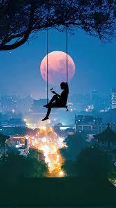 Alone Girl Silhouette Night City Moon ...
