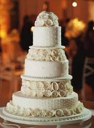 Five Tier Round White Wedding Cake With White Roses As Second And