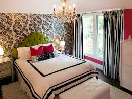 engaging image of girl decoration using black and white pattern wallpaper including curved tufted on green fabric headboard furry area rugs end teen