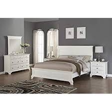 Amazon.com: Roundhill Furniture Laveno 012 White Wood Bedroom ...
