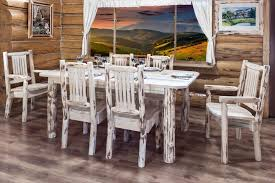 beautiful rustic log kitchen dining set of a 6 long table and 6 chairs