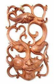 northern passages wood carvingswood artwood  on bali wood carving wall art with shy maiden unique contemporary wall mask masking contemporary and