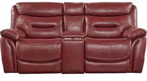 1 255 00 bennato red leather power reclining console loveseat transitional