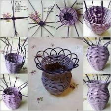 Flower Vase With Paper How To Diy Woven Flower Vase From Paper Roll