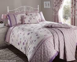 fleur mauve duvet cover vintage fl ribbon stripe lilac purple embellished