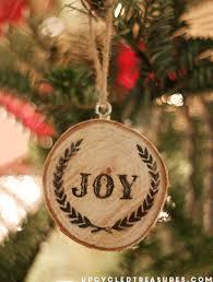 joy wood slice ornament