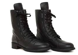 chanel quilted boots. chanel black leather combat boots w. stitched cc \u0026 quilted trim sz41 rt.$1425 n