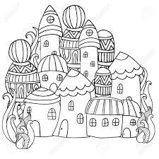 魔法の森にファンタジーの妖精を家します塗り絵のパターン白と黒のパターントレースでスケッチします