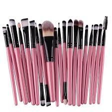 20 pcs make up brush set black pink