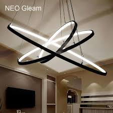 neo gleam modern acrylic chandelier led circle rings hanging pendant chandelier lights for living room acrylic re chandelier for nursery teardrop