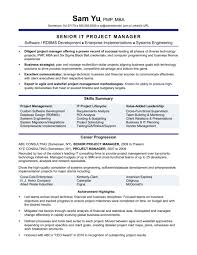 Resume Template Simple It Project Manager Resume Sample Doc Docs
