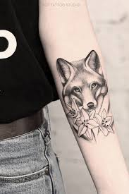 тату лиса и эскиз тату лиса для тех кто любит стиль графика тату