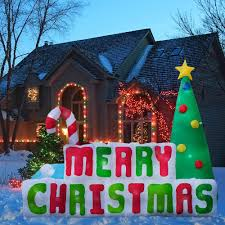 Merry Christmas Light Up Signs Outdoor Amazon Com Inflatable Outdoor Merry Christmas Sign 8 Feet