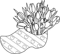 Kleurplaat Klompen Met Tulpen Ik Hou Van Holland Bloem