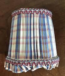 chandelier sconce lamp shade silk plaid pleated trim custom decorator lampshade