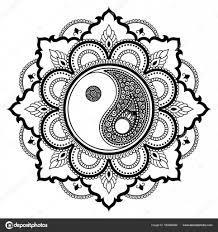 Circulaire Patroon In De Vorm Van Een Mandala Yin Yang Decoratieve