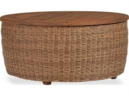 lloyd flanders tobago wicker 36 round cocktail table with antiqued teak top 426044