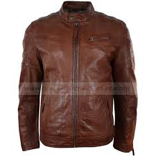 mens tailored fitted brown leather biker jacket