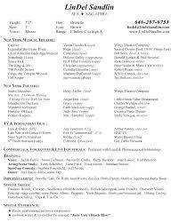 Sample Musician Resume Musical Theatre Resume