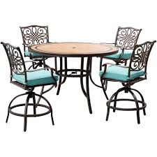 hanover monaco 5 piece aluminum outdoor high dining set with round tile top table