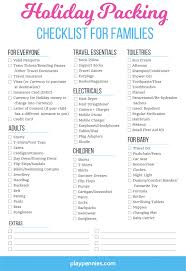 Packing Check List Holiday Packing Checklist For Families
