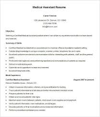 Free Healthcare Resume Templates Medical Assistant Resume Template   Free Samples  Examples Free Templates for CV
