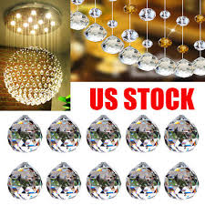 10pcs clear crystal chandelier ball prism suncatcher pendant charms drop decor