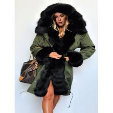 noble hooded long sleeve black faux fur splicing pocket design women s coat army green l