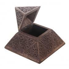 in decorative pyramid shaped wooden trinket box
