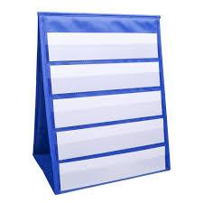 Double Sided Desktop Pocket Chart Self Standing Tabletop Desktop Pocket Chart With Bonus 20x Dry Erase Cards Sentence Strips File Holder For