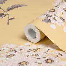 Wallpapering For A Living Room Sophie Conran Pom Pom Yellow Floral Wallpaper Departments Diy
