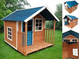 kids outdoor wooden playhouse with blue roof 172 x 140 x 136cm