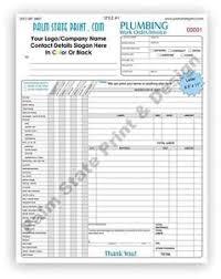 Plumbing Invoice 2 Part Plumbing Invoice Receipt Work Order Carbon Copy Forms Book