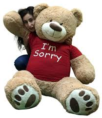 amazon big plush say i m sorry with this giant teddy bear 5 feet tall tan color soft wears t shirt that says i m sorry toys games